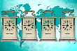 Business Travel Concept. Timezone Clocks Showing Different Time stock image