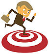 Businessman Achieved The Aim. Contemporary Business Concept. Vector Illustration stock vector