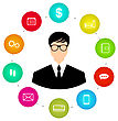 Businessman Around Icons Social Media Networks And Innovation Idea Use New Knowledge Make Ambitious Career Flat Style - Vector stock illustration