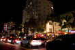 Busy Southbeach Traffic at Night - Miami, FL USA stock photo