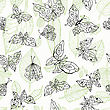 Butterfly. Nature Seamless Background. Hand Drawn Illustration stock illustration