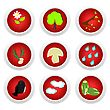 Button Set Red Of Ecology