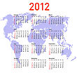 Calendar 2012 With World Map. Sundays First stock illustration