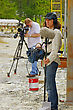 Cameraman And Sound Recordist At Work On Ocation stock photography