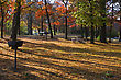 Camp Ground Set In The Autumn Colors. stock image
