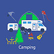 Camping Flat Design In UI Colors. Vector Illustration