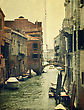 Canal With Gondola . Venice. Old Style Image
