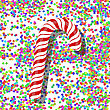 Candy Cane On Colorful Confetti Background. Colorful Confetti Pattern