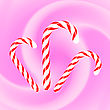 Candy Canes Icons On Pink Wave Background