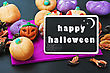 Candy For Halloween And Blackboard With Congratulations stock photo