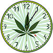 Cannabis Green Clock Against White Background,  Image Contains Transparency