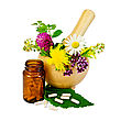 Capsules On Green Leaf Of Sage, Brown Jar, Wooden Mortar With A Sprig Of Mint, Flowers Of Chamomile, Clover, Oregano, Mignonette, Elecampane stock photography