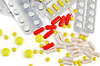 Capsules Are Red, Yellow And Pink, White Pills In Packages And Various Sizes Yellow Pills stock photography
