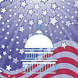 Caritol White Silhouette On American Flag Background