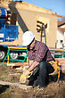 Constructionsite Carpenter In Construction Site stock photography