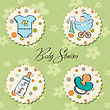Cartoon Baby Boy Items Collection stock illustration