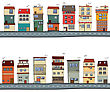 Cartoon Houses Illustration Set Over White Background