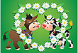 Cartoon Kissing Cows And Camomile Border stock vector