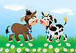Cartoon Kissing Cows In Love stock illustration
