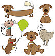 Cartoon Pets Collection On White Background