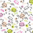 Cartoon Seamless Pattern With Cute Cats, Vector Format