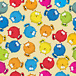 Cartoon Style Seamless Patter With Cute Fat Cats, Wrapping Paper Or Background Design