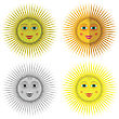 Cartoon Sun Icons Isolated On White Background
