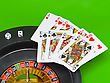 Casino- Playing Cards On Green Broadcloth (background stock photography