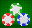 Casino Or Roulette Chips Over Green Textured Background. Extralarge Res. Other Leisure Stuff Is In My Portfolio