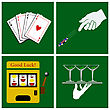 Casino Set On Green Background. Vector Illustration