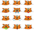Cat Emojis Set Of Emoticons Icons Isolated. Vector Illustration On White Background