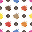Cat Paw Seamless Animal Pattern. Pet Isolated On White Background