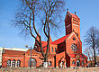 Independence Catholic Church Of Saints Simon And Helena. Red Church In Minsk, Belarus stock image