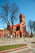 Independence Catholic Church Of Saints Simon And Helena. Red Church In Minsk, Belarus stock photo