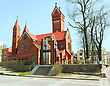 Catholic Church Of Saints Simon And Helena. Red Church In Minsk, Belarus stock photography