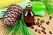 Cedar Oil In A Bottle, With A Branch Of Cedar Cones, Cedar Nuts, Two Green Soap, Two Towels On A Bamboo Mat stock photo