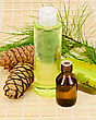 Cedar Oil In A Bottle, Cedar Cones With Branch, Two Green Homemade Soap, Shower Gel On A Bamboo Mat