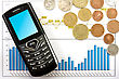 Financial Cell Phone And Coins Over Business Chart stock photo