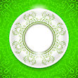 Ceramic Ornamental Plate On Green Background. Top View