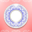 Ceramic Ornamental Plate Isolated On Pink Background. Top View