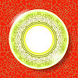 Ceramic Ornamental Plate Isolated On Red Background. Top View
