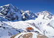 Chalet on Mountain Top stock photography
