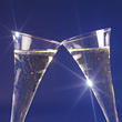 Champagne Glasses Making a Toast stock photo