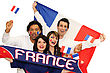 Cheerful Men And Women Supporting France stock image