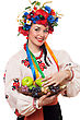Cheerful Young Woman In The Ukrainian National Clothes With Fruit stock image