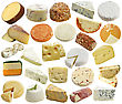 Cheese Collection Isolated On White stock image