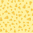 Cheese Slices Seamless Pattern On Yellow. Milk Product Background