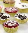 Cheesecake Cups Assortment ,Close Up stock image