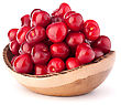 Cherry Berries In Wooden Bowl Isolated On White Background Cutout