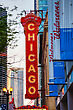 CHICAGO - MAY 20: Chicago Theather Neon Sign On May 20, 2013 In Chicago, IL. It'is A Landmark Theater Located On North State Street In The Loop Area Of Chicago stock image